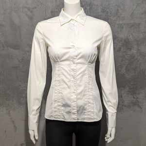 Theory white Grant fitted button up blouse